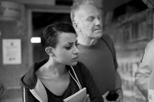 Rachel Long, poet, and David Binns, artist in Stoke